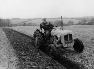 Ivan Thompson ploughing above Hill Farm