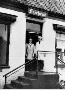 Brian and Dorothy Fairhead outside the shop in the 1960s