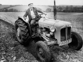 Austin Fowell ploughing above Hill Farm