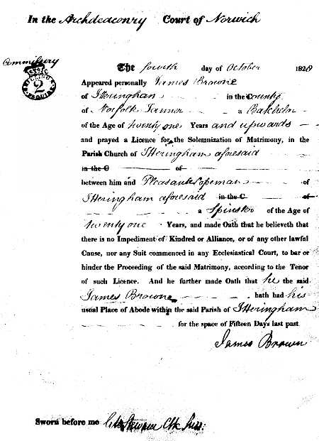 Marriage licence 1828