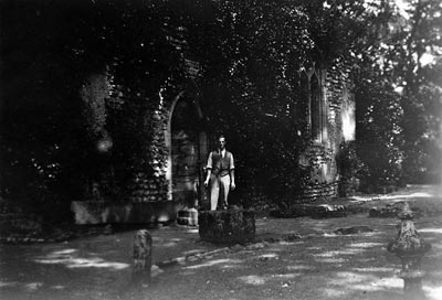Cecil Baxter outside Mannington church c.1925