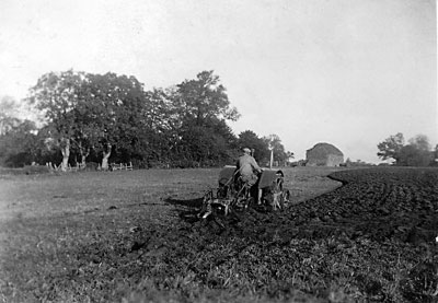Billy ? ploughing Ester's field - November 1942