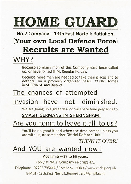 The Itteringham No. 7 Company needs YOU!